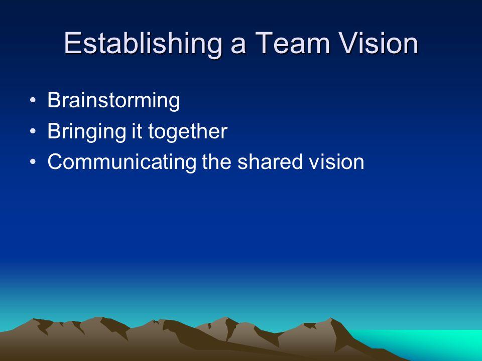 Establishing a Team Vision Brainstorming Bringing it together Communicating the shared vision