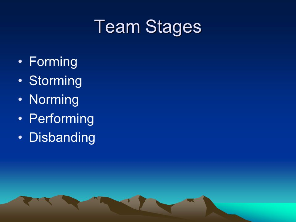 Team Stages Forming Storming Norming Performing Disbanding