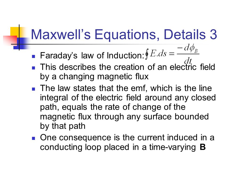 Maxwell's Equations, Details 3 Faraday's law of Induction: This describes the creation of an electric field by a changing magnetic flux The law states
