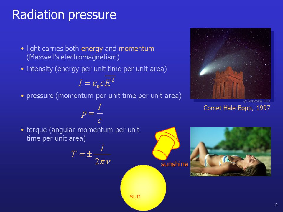4 Radiation pressure © Malcolm Ellis Comet Hale-Bopp, 1997 intensity (energy per unit time per unit area) pressure (momentum per unit time per unit area) light carries both energy and momentum (Maxwell's electromagnetism) sun sunshine torque (angular momentum per unit time per unit area)