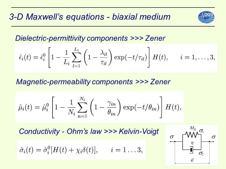 3-D Maxwell's equations - biaxial medium Dielectric-permittivity components >>> Zener Magnetic-permeability components >>> Zener Conductivity - Ohm's law >>> Kelvin-Voigt
