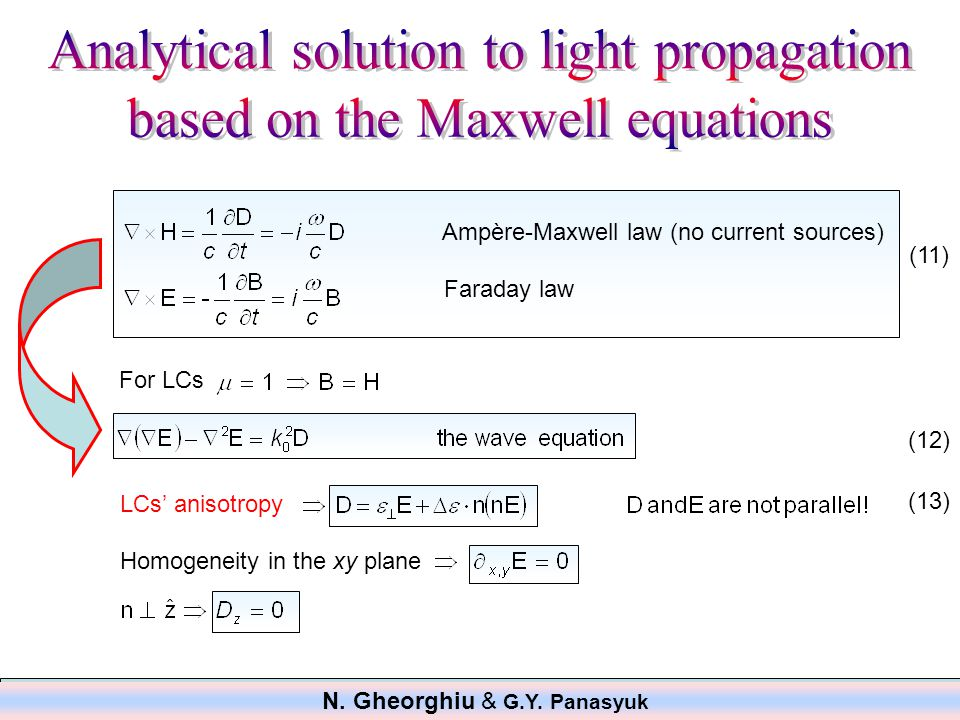 Ampère-Maxwell law (no current sources) Faraday law For LCs LCs' anisotropy Homogeneity in the xy plane (11) (12) (13) N.