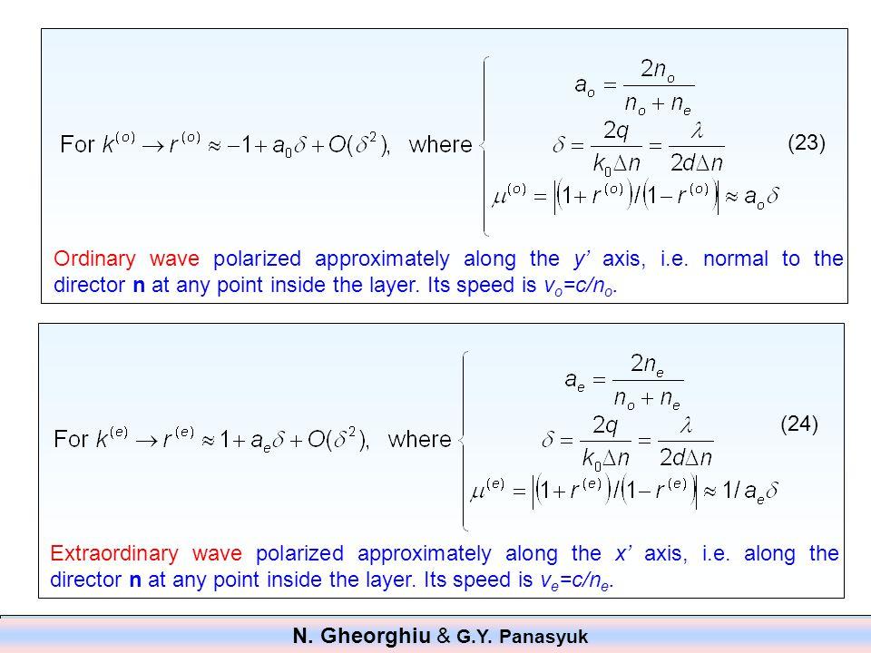 Ordinary wave polarized approximately along the y' axis, i.e.