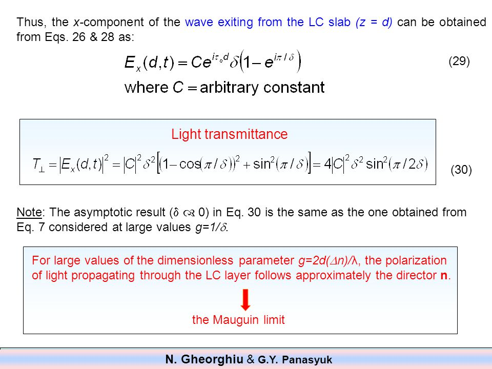 Thus, the x-component of the wave exiting from the LC slab (z = d) can be obtained from Eqs.
