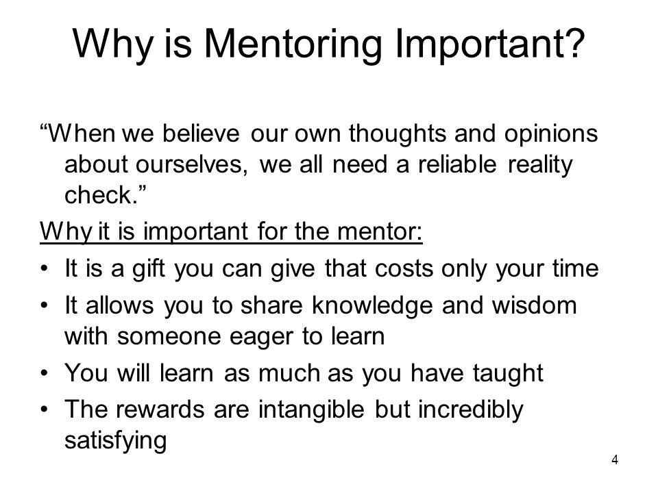4 Why is Mentoring Important.