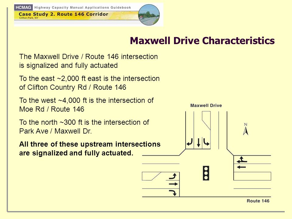 Maxwell Drive Characteristics The Maxwell Drive / Route 146 intersection is signalized and fully actuated To the east ~2,000 ft east is the intersection of Clifton Country Rd / Route 146 To the west ~4,000 ft is the intersection of Moe Rd / Route 146 To the north ~300 ft is the intersection of Park Ave / Maxwell Dr.