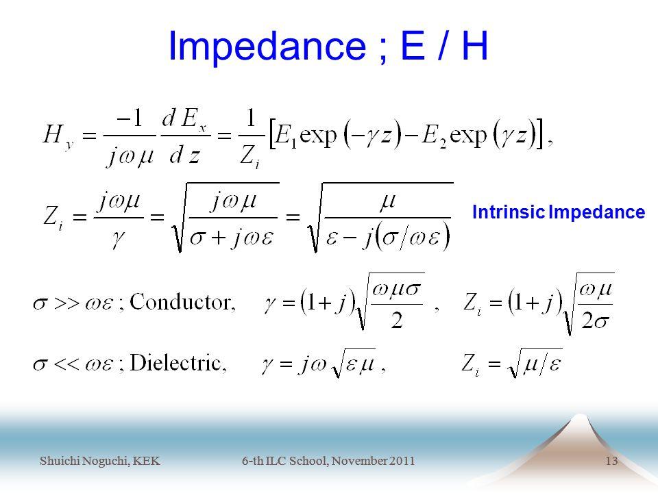Shuichi Noguchi, KEK6-th ILC School, November 201113 Shuichi Noguchi, KEK6-th ILC School, November 201113 Impedance ; E / H Intrinsic Impedance
