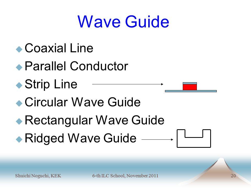 Shuichi Noguchi, KEK6-th ILC School, November 201120 Shuichi Noguchi, KEK6-th ILC School, November 201120 Wave Guide  Coaxial Line  Parallel Conductor  Strip Line  Circular Wave Guide  Rectangular Wave Guide  Ridged Wave Guide