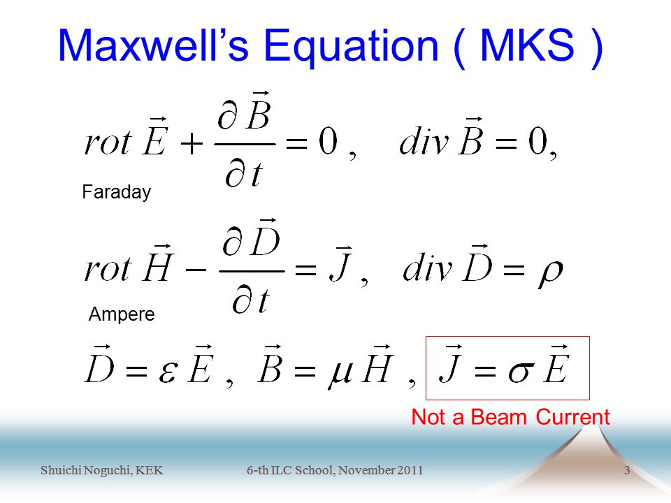 Shuichi Noguchi, KEK6-th ILC School, November 20113 Shuichi Noguchi, KEK6-th ILC School, November 20113 Maxwell's Equation ( MKS ) Not a Beam Current Faraday Ampere