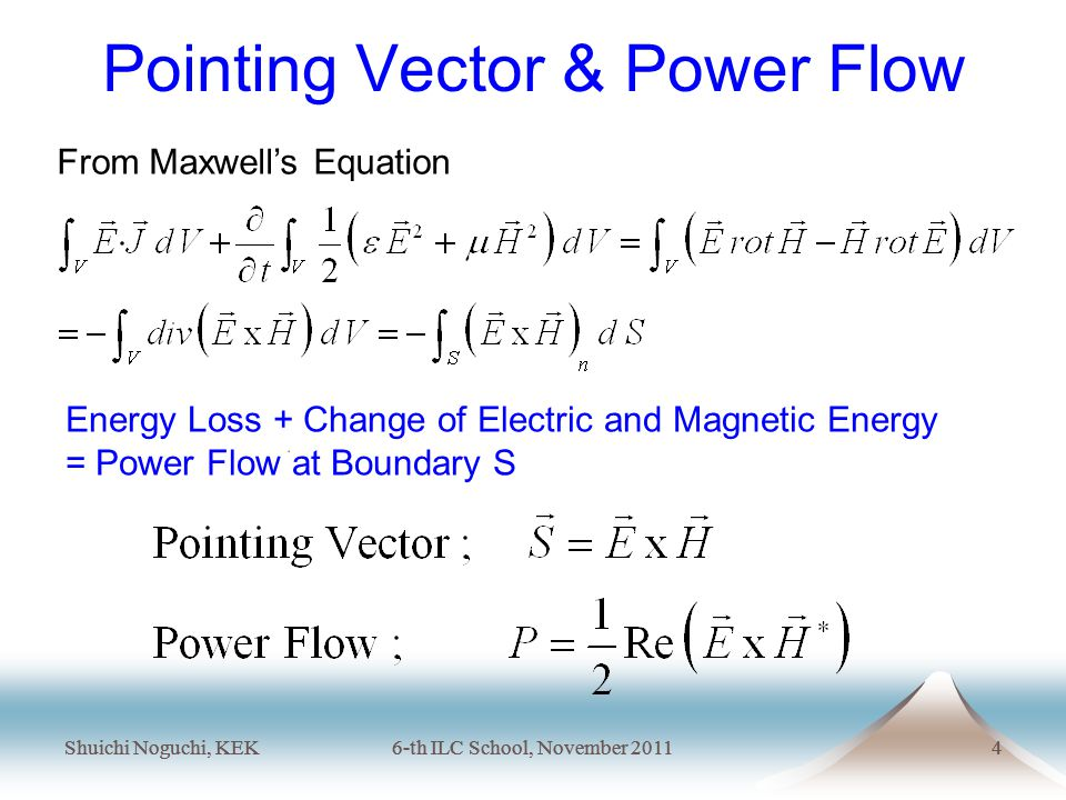 Shuichi Noguchi, KEK6-th ILC School, November 20114 Shuichi Noguchi, KEK6-th ILC School, November 20114 Pointing Vector & Power Flow From Maxwell's Equation Energy Loss + Change of Electric and Magnetic Energy = Power Flow at Boundary S