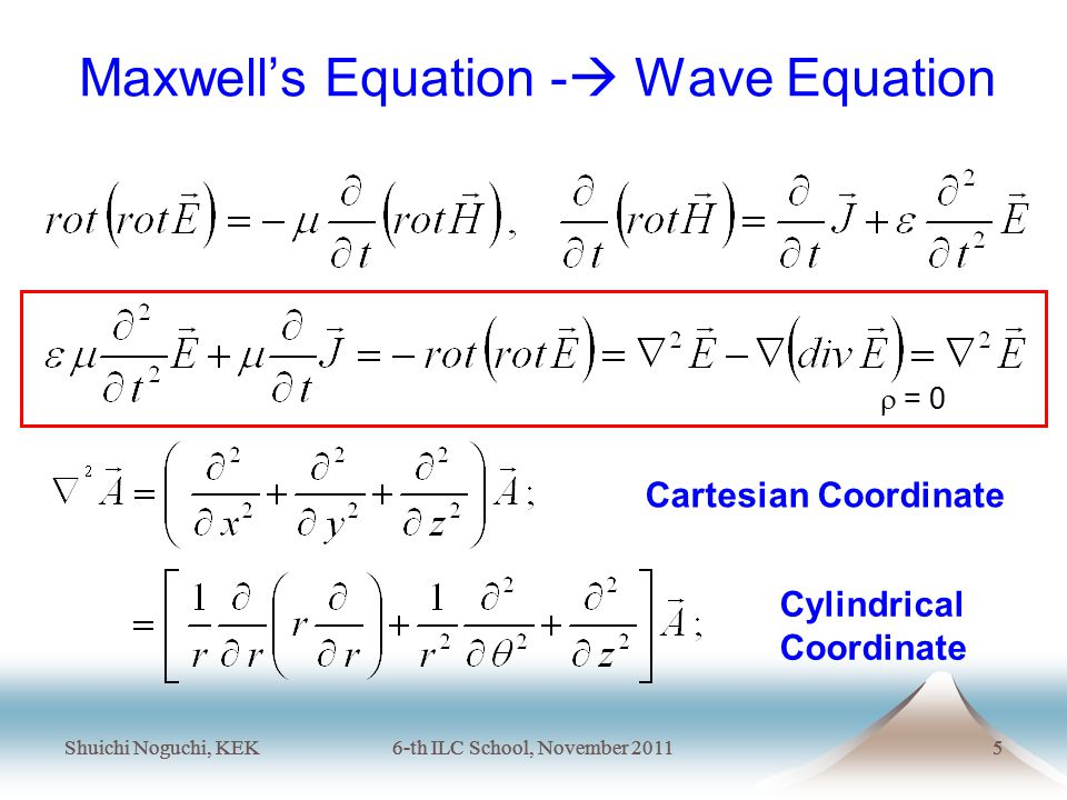 Shuichi Noguchi, KEK6-th ILC School, November 20115 Shuichi Noguchi, KEK6-th ILC School, November 20115 Maxwell's Equation -  Wave Equation Cartesian Coordinate Cylindrical Coordinate  = 0