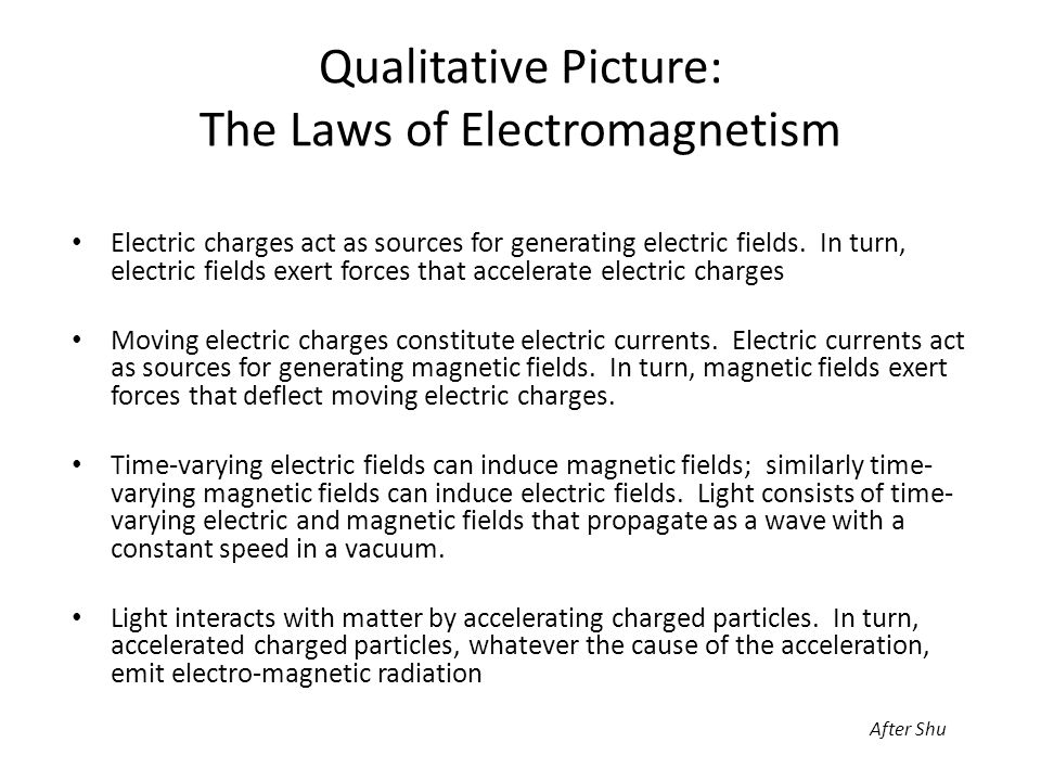 Qualitative Picture: The Laws of Electromagnetism Electric charges act as sources for generating electric fields.