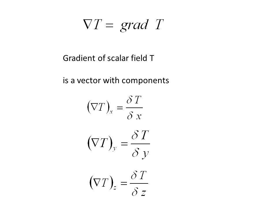 Gradient of scalar field T is a vector with components