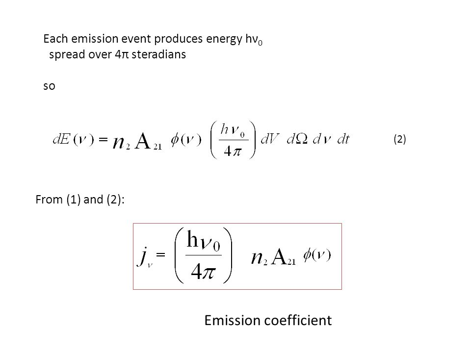 Each emission event produces energy hν 0 spread over 4π steradians so (2) From (1) and (2): Emission coefficient