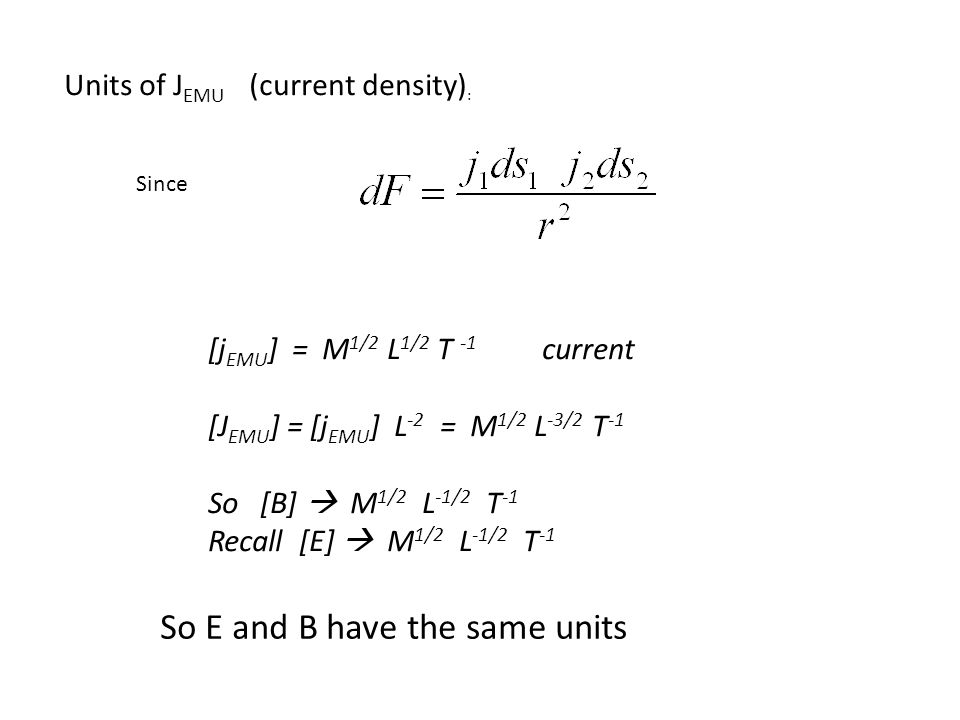 Units of J EMU (current density) : Since [j EMU ] = M 1/2 L 1/2 T -1 current [J EMU ] = [j EMU ] L -2 = M 1/2 L -3/2 T -1 So [B]  M 1/2 L -1/2 T -1 Recall [E]  M 1/2 L -1/2 T -1 So E and B have the same units