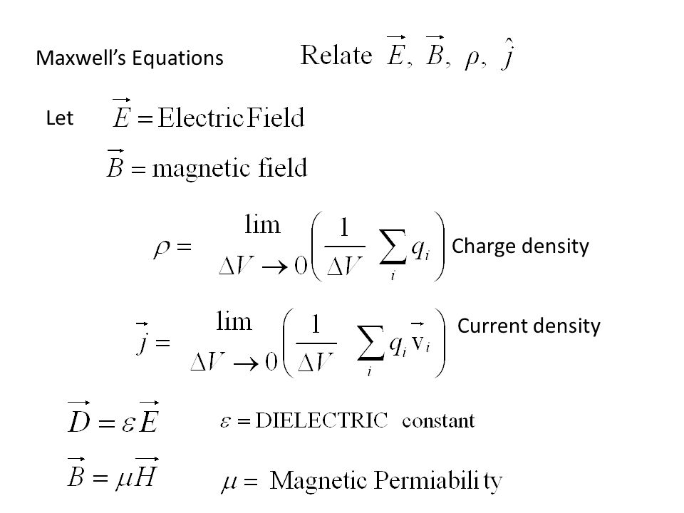 Maxwell's Equations Let Charge density Current density