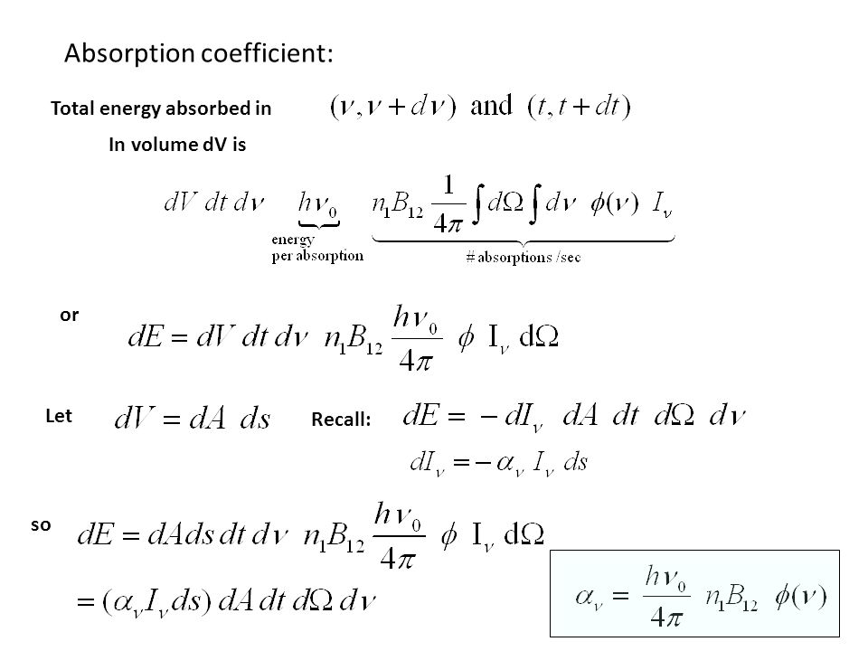 Absorption coefficient: Total energy absorbed in In volume dV is or Let Recall: so