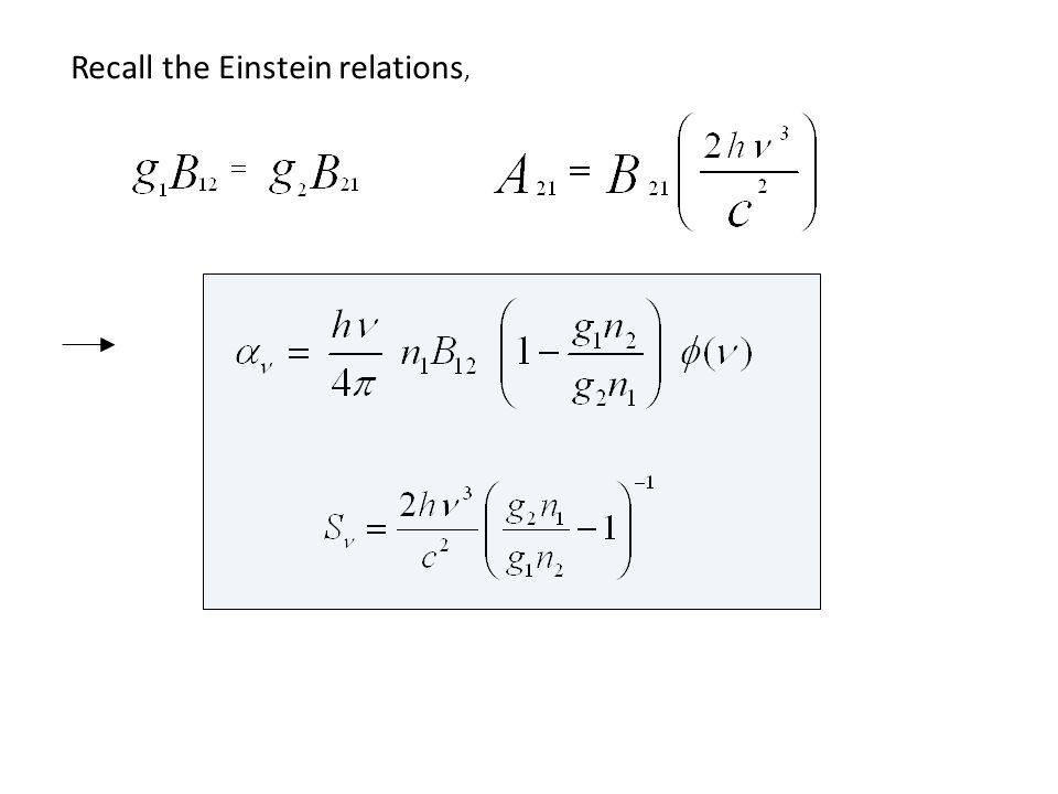 Recall the Einstein relations,