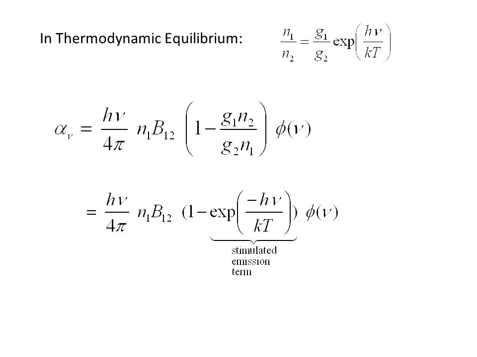 In Thermodynamic Equilibrium: