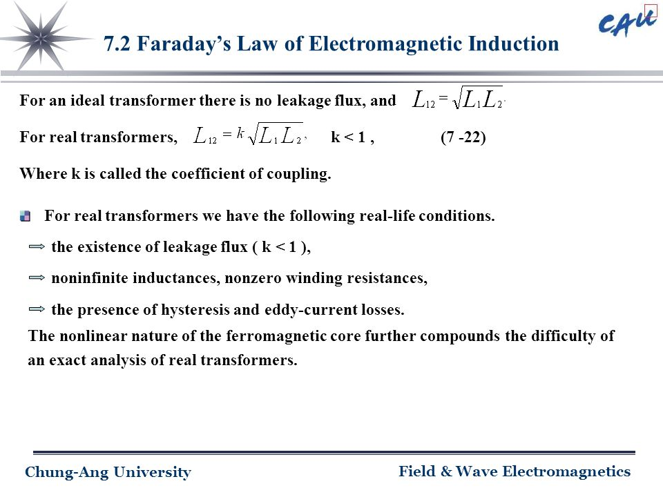 Chung-Ang University Field & Wave Electromagnetics 7.2 Faraday's Law of Electromagnetic Induction For an ideal transformer there is no leakage flux, a