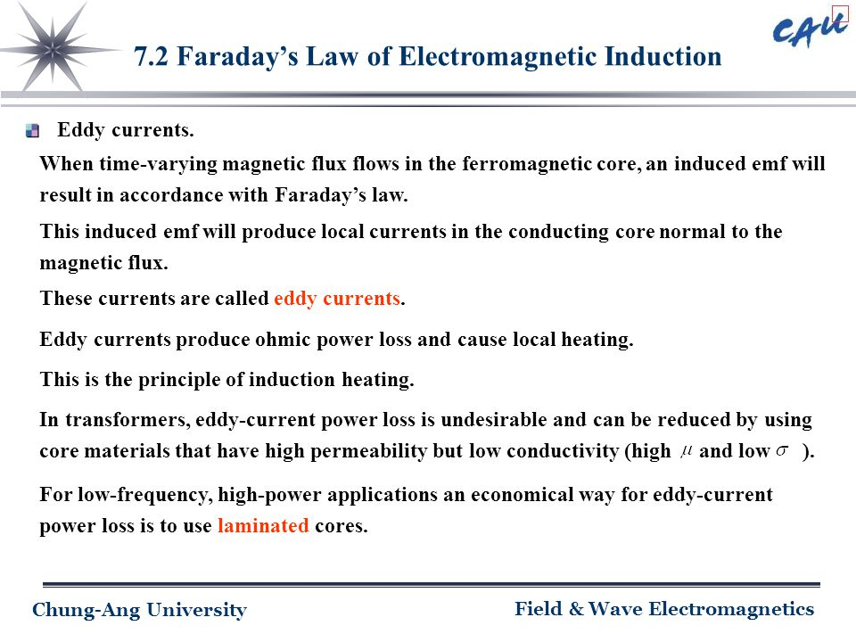 Chung-Ang University Field & Wave Electromagnetics 7.2 Faraday's Law of Electromagnetic Induction Eddy currents. When time-varying magnetic flux flows