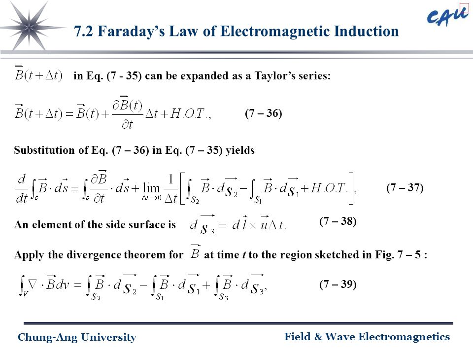 Chung-Ang University Field & Wave Electromagnetics 7.2 Faraday's Law of Electromagnetic Induction in Eq. (7 - 35) can be expanded as a Taylor's series