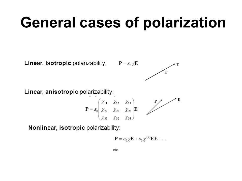 General cases of polarization Linear, isotropic polarizability: Linear, anisotropic polarizability: Nonlinear, isotropic polarizability: