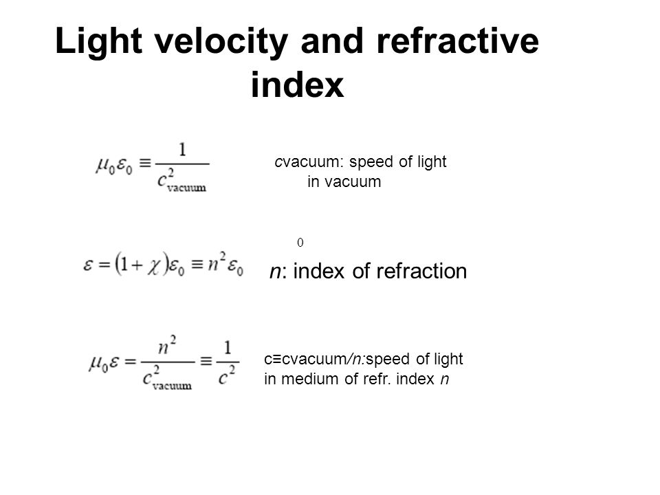 Light velocity and refractive index cvacuum: speed of light in vacuum 0 n: index of refraction c≡cvacuum/n:speed of light in medium of refr. index n