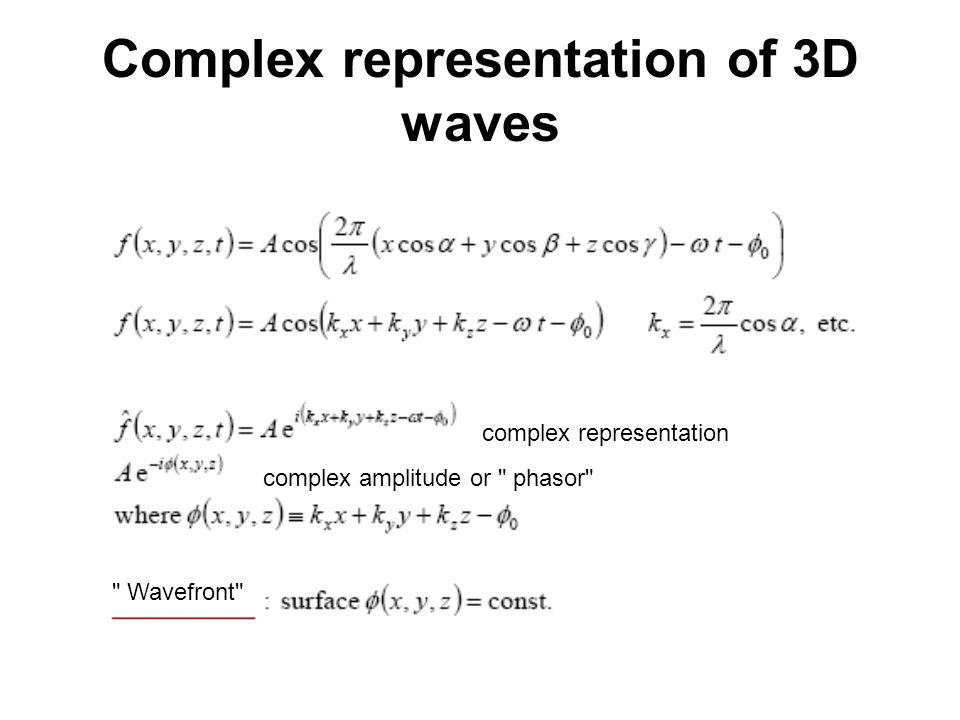 Complex representation of 3D waves complex representation complex amplitude or phasor Wavefront