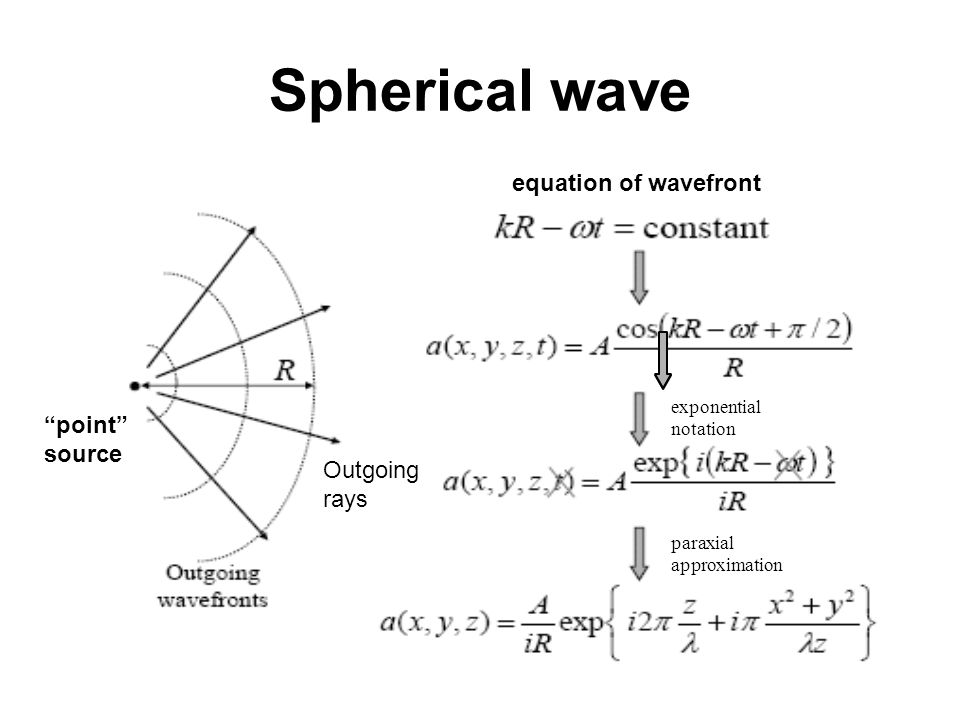 Spherical wave equation of wavefront point source exponential notation paraxial approximation Outgoing rays