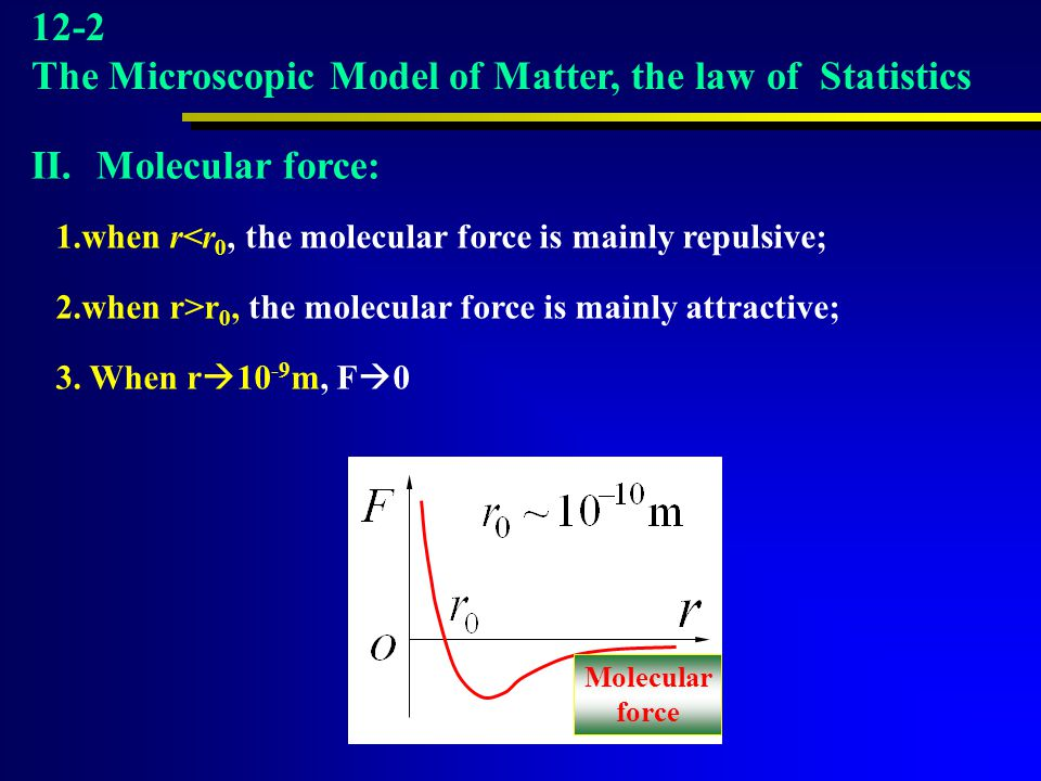 Molecular force 1.when r<r 0, the molecular force is mainly repulsive; 2.when r>r 0, the molecular force is mainly attractive; 3. When r  10 -9 m, F