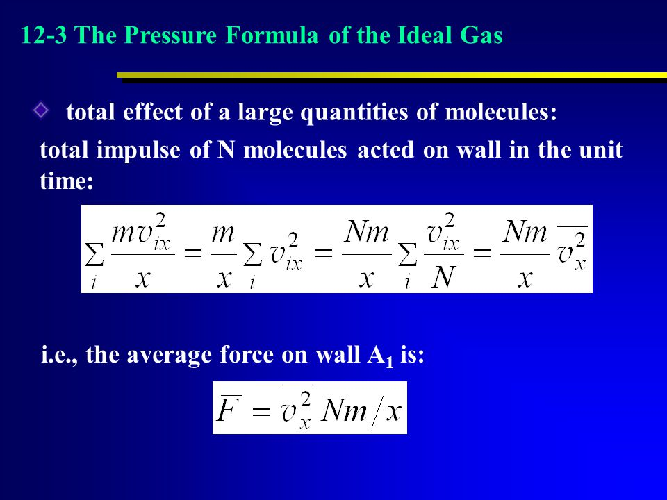 total impulse of N molecules acted on wall in the unit time: total effect of a large quantities of molecules: i.e., the average force on wall A 1 is: