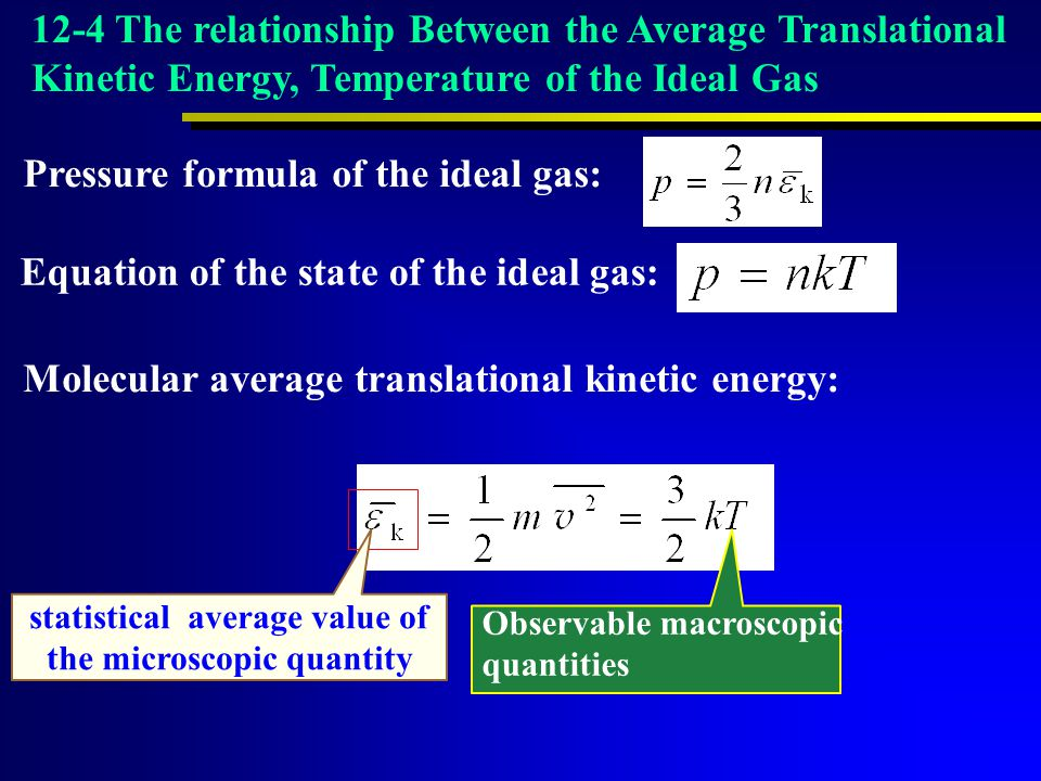 Observable macroscopic quantities statistical average value of the microscopic quantity Equation of the state of the ideal gas: 12-4 The relationship