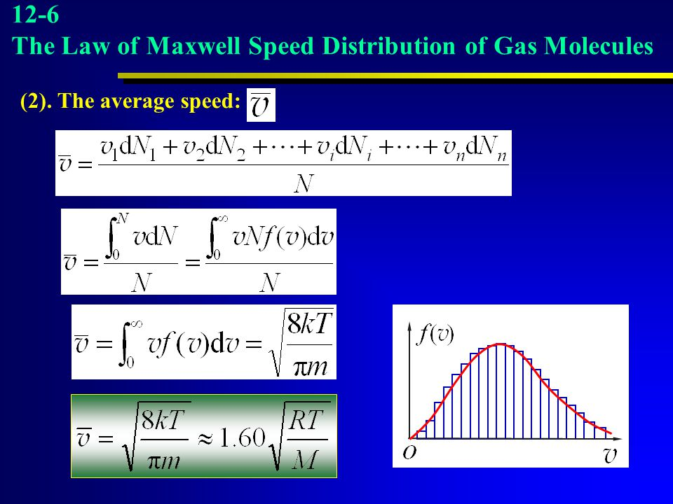 46 12-6 The Law of Maxwell Speed Distribution of Gas Molecules (2). The average speed: