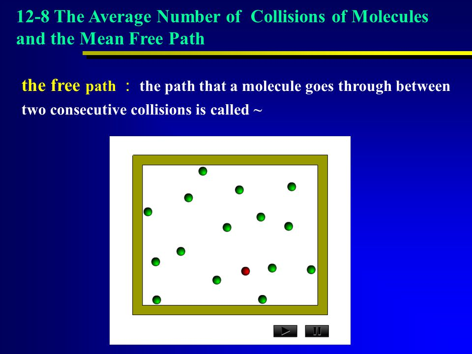 the free path : the path that a molecule goes through between two consecutive collisions is called ~ 12-8 The Average Number of Collisions of Molecule