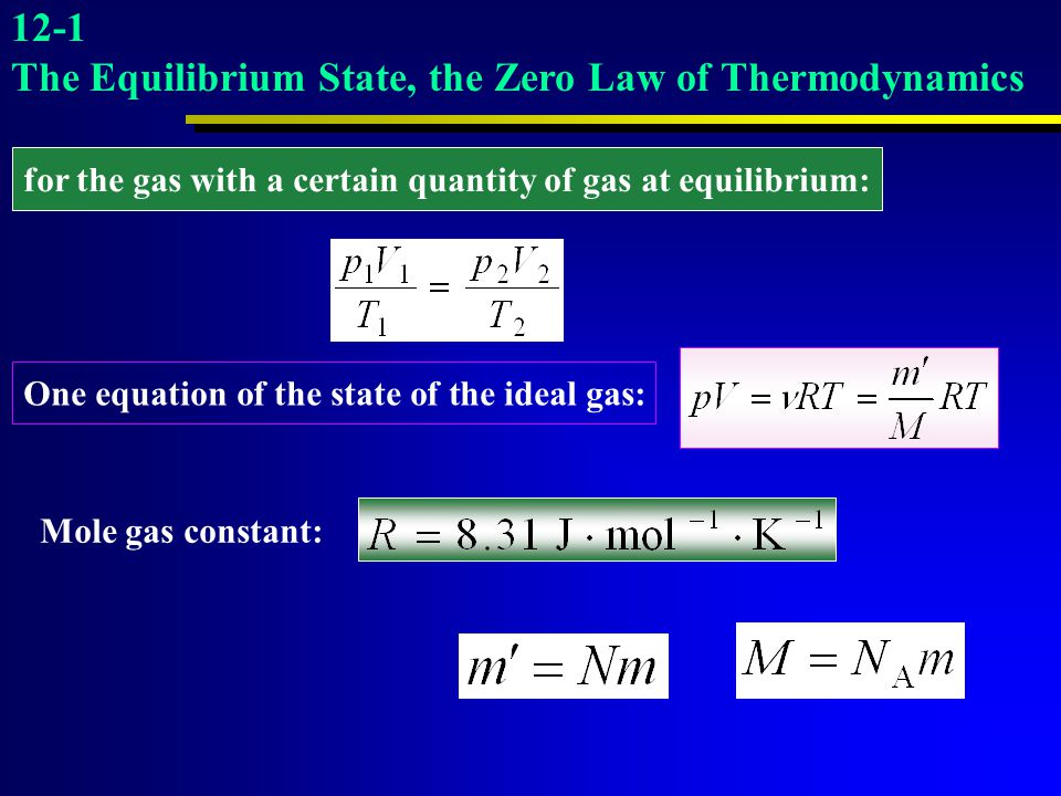Mole gas constant: for the gas with a certain quantity of gas at equilibrium: One equation of the state of the ideal gas: 12-1 The Equilibrium State,
