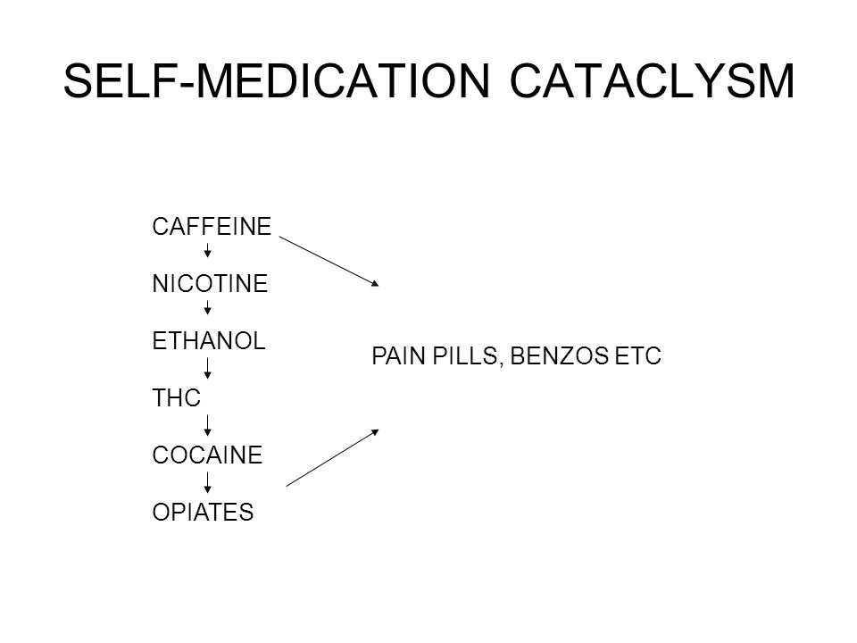 SELF-MEDICATION CATACLYSM CAFFEINE NICOTINE ETHANOL THC COCAINE OPIATES PAIN PILLS, BENZOS ETC