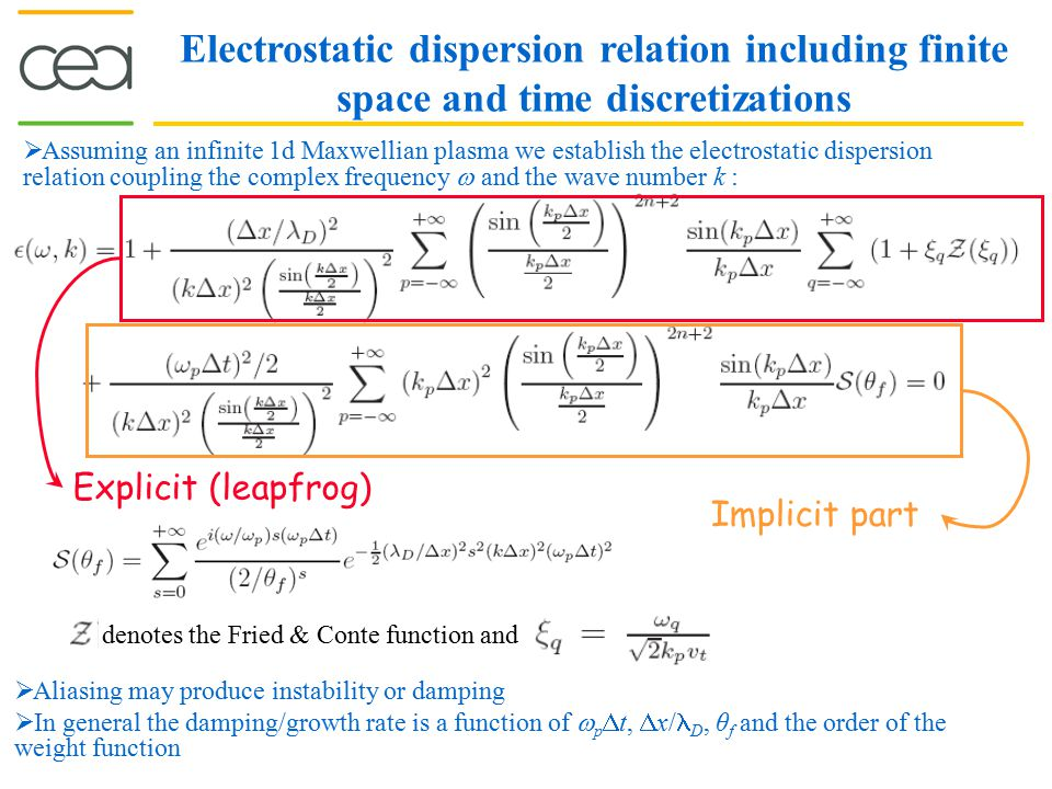 Electrostatic dispersion relation including finite space and time discretizations  Assuming an infinite 1d Maxwellian plasma we establish the electro