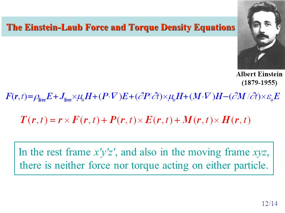 The Einstein-Laub Force and Torque Density Equations In the rest frame x y z , and also in the moving frame xyz, there is neither force nor torque acting on either particle.