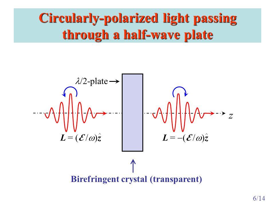 Collimated beam of light passing through a transparent spiral ramp Emergent beam has (orbital) angular momentum Optical Vortex 7/14