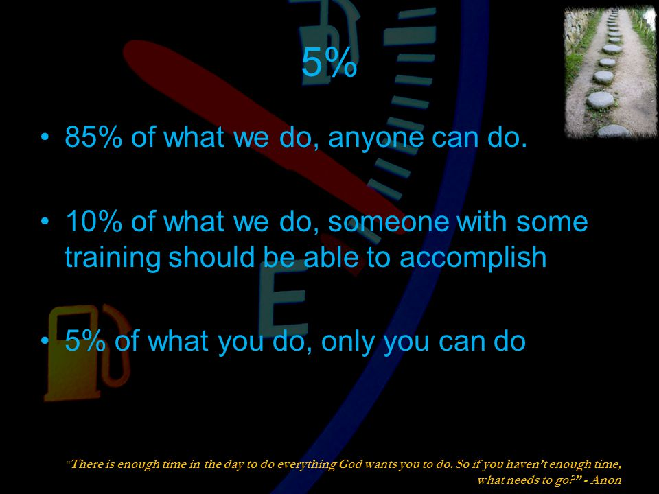 5% 85% of what we do, anyone can do.
