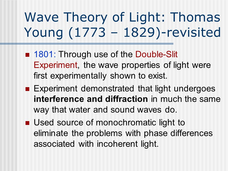 Young Double-Slit Experiment Huygen's Wavelets www.src.wits.ac.za