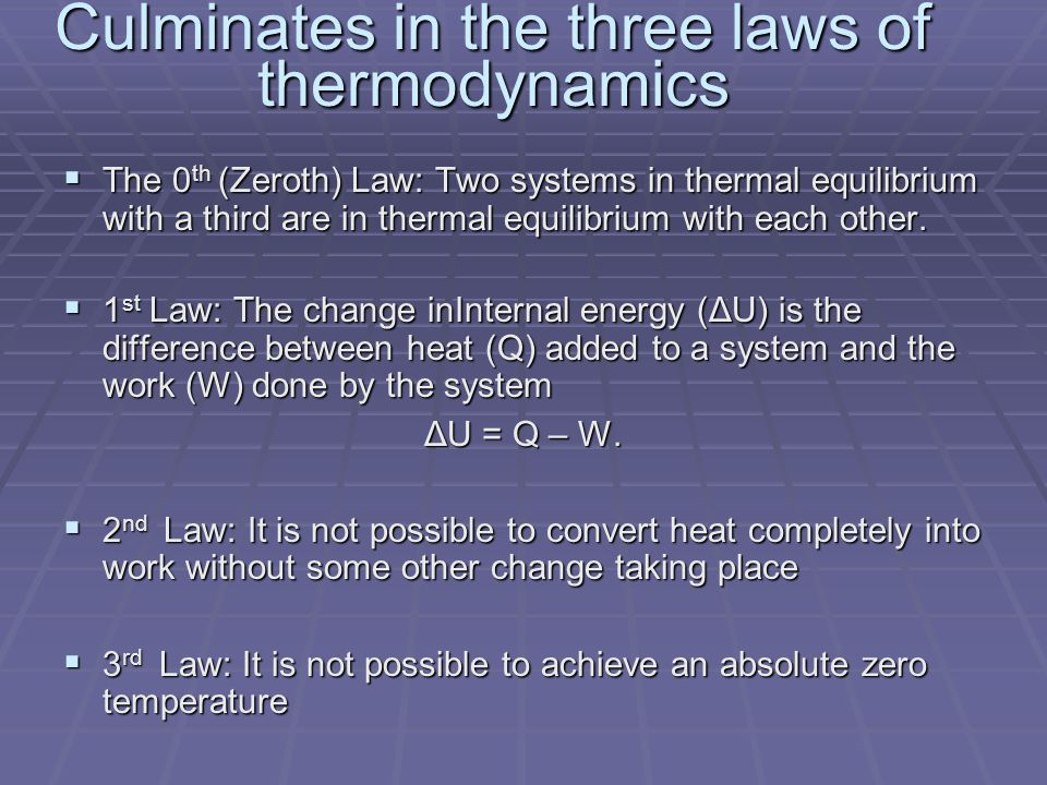 Culminates in the three laws of thermodynamics  The 0 th (Zeroth) Law: Two systems in thermal equilibrium with a third are in thermal equilibrium with each other.