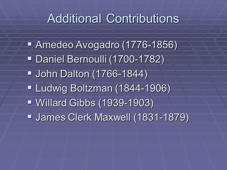 Additional Contributions  Amedeo Avogadro (1776-1856)  Daniel Bernoulli (1700-1782)  John Dalton (1766-1844)  Ludwig Boltzman (1844-1906)  Willar