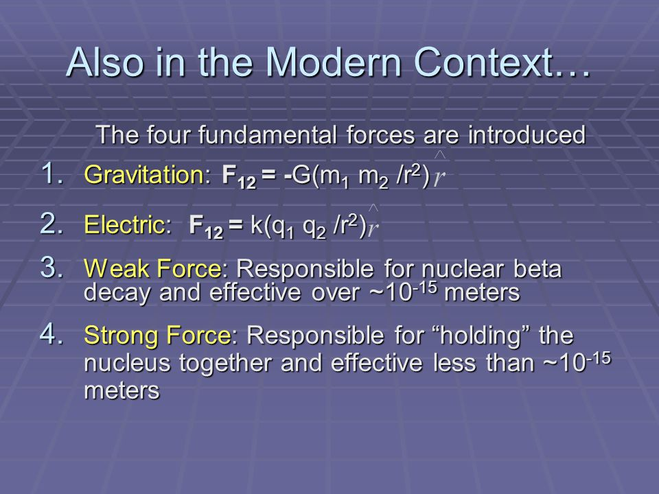 Also in the Modern Context… The four fundamental forces are introduced The four fundamental forces are introduced 1.