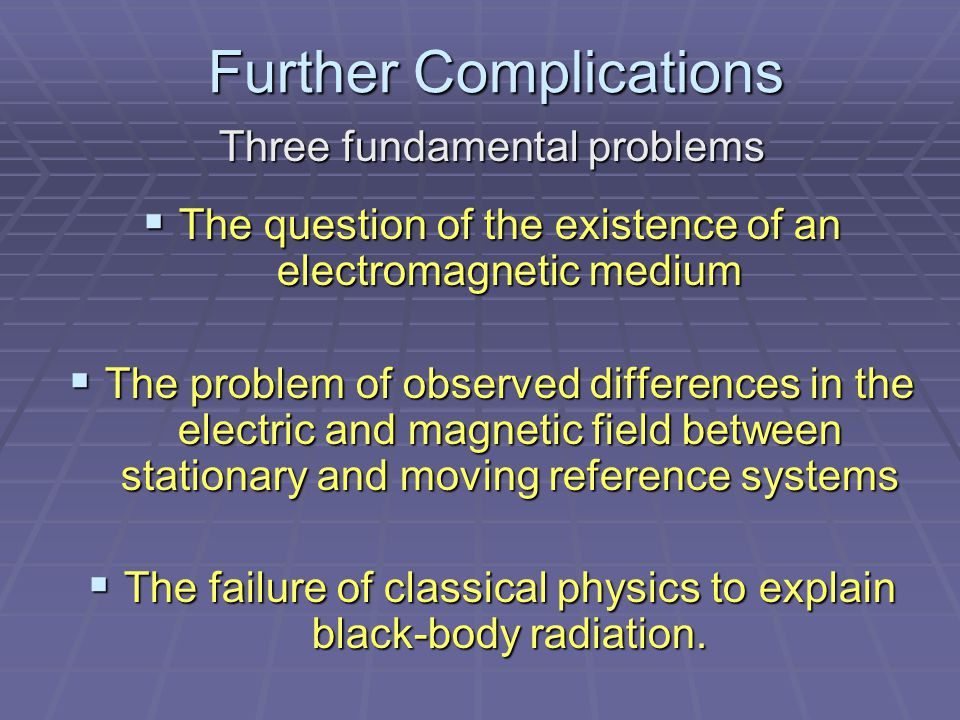 Further Complications Further Complications Three fundamental problems  The question of the existence of an electromagnetic medium  The problem of observed differences in the electric and magnetic field between stationary and moving reference systems  The failure of classical physics to explain black-body radiation.