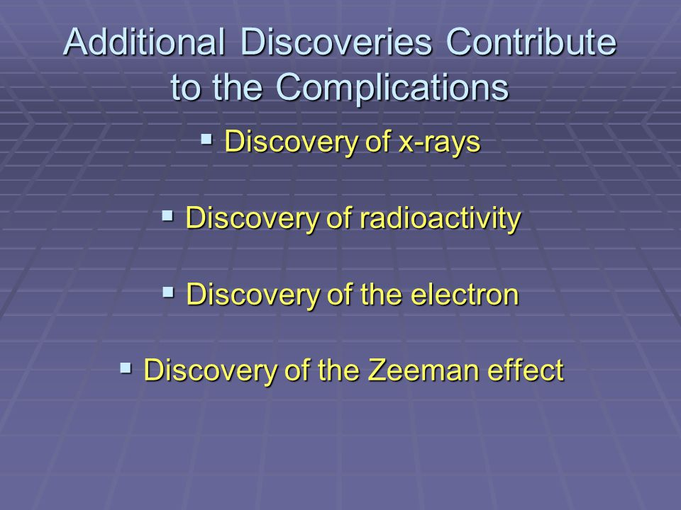 Additional Discoveries Contribute to the Complications  Discovery of x-rays  Discovery of radioactivity  Discovery of the electron  Discovery of the Zeeman effect