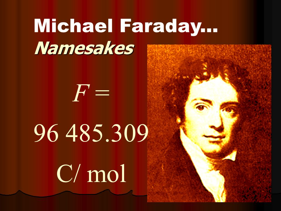 Namesakes Michael Faraday... Namesakes F = 96 485.309 C/ mol