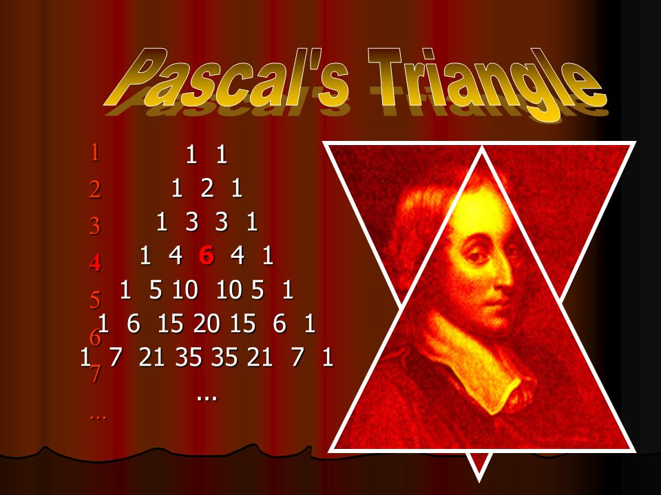 Pascal's Triangle 1 1 1 2 1 1 3 3 1 1 4 6 4 1 1 5 10 10 5 1 1 6 15 20 15 6 1 1 7 21 35 35 21 7 1...
