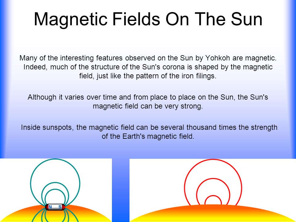 Magnetic Fields On The Sun Many of the interesting features observed on the Sun by Yohkoh are magnetic. Indeed, much of the structure of the Sun's cor